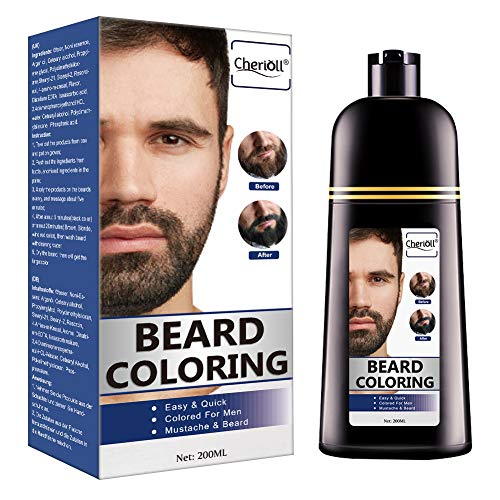 Beard Coloring, Darkening Beard Wash, Black Hair Dye and Shampoo, Gradually Colors Mustache and Beard, Easy & Quick(200ml)