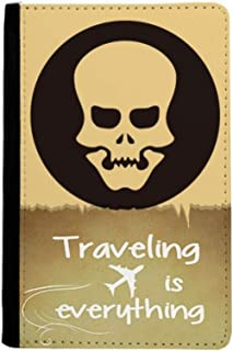 Happy Halloween Hollowed Skull Traveling quato Passport Holder Travel Wallet Cover Case Card Purse