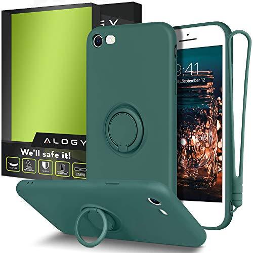 Alogy Funda para iPhone SE 2020/8/7 | Funda para teléfono móvil con banda, soporte de anillo de 360 grados y soporte magnético para teléfono móvil | Funda de silicona verde