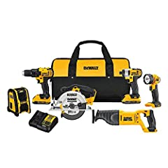 "DCD780 20v MAX* 1/2"" Drill/Driver, and DCF885 1/4"" Impact Driver DCS381 20v MAX* Reciprocating, and DCS393 20v MAX* Circular Saw DCL040 20v MAX* LED Worklight, and DCR006 Jobsite Bluetooth Speaker Includes 2) 20v MAX* 2.0 Ah Batteries Backed by DEWAL..."