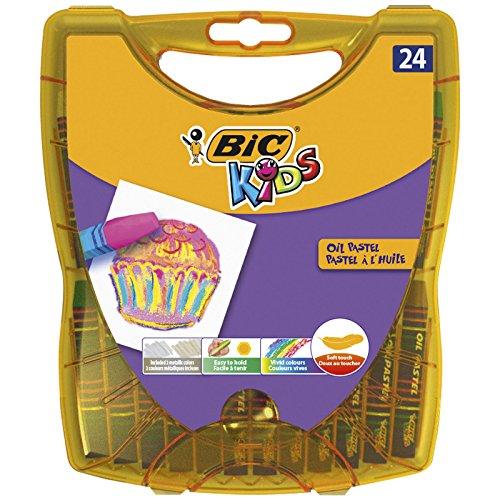 BIC Kids Oil Pastels für Kinder – Ergiebige Ölpastellkreide Stifte mit praktischer Aufbewahrungsbox – 24 Kreidestifte ab 5 Jahren