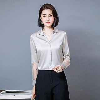 قمصان وتي شيرتات نسائية بأكمام طويلة ورقبة على شكل حرف V شيفون كاجوال OL Makfacp (اللون: فضي، المقاس: L)