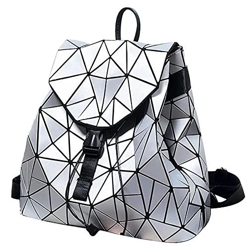 QIANJINGCQ Moda cool casual femminile caotico triangolo geometria selvaggia pieghevole diamante griglia semplice tendenza personalità zaino studentessa impermeabile di grande capacità