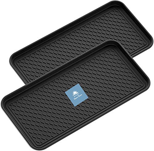 "BBA Sunrise | Multi-Purpose Boot Mat Tray, Black Boot Mat Tray, Indoor & Outdoor Boot and Shoe Tray, Dog Water Mat & Litter Box, Boot Drying Mat, Dirt Rug, 30"" x 15"" x 1.2"" (2 Pack)"