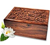 Lindia Artisans Handcrafted Wooden Urn (Large Size) Beautiful Unique Tree of Life Rosewood Design - Urns for Human or Pet Ashes (Large)