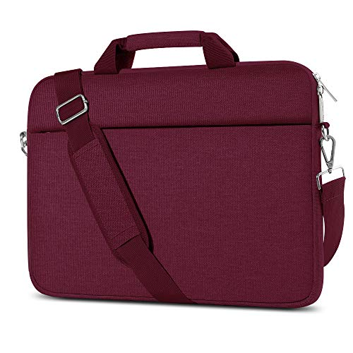 AtailorBird Laptop Bag 14 Inch, Notebook Shoulder Messenger Protective Bag Water-Repellent Satchel with Handle for Ultrabook Tablet Cover Case - Wine Red
