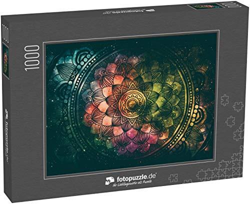 fotopuzzle.de Puzzle 1000 Teile Abstrakte antike Geometrie mit Sternenfeld und farbigem Galaxienhintergrund