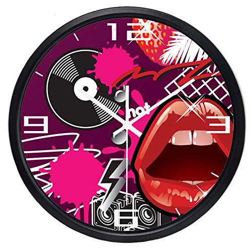 Horloge Murale Horloge Murale À Lèvres Rouges pour Disques Vinyles, Élément Musical 12 Pouces B176S