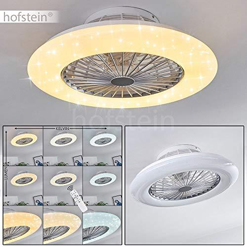 LED Deckenventilator Piraeus in Weiß/Titan, LED Deckenleuchte mit Ventilator, 30 Watt, Ø 50 cm, dimmbar über Fernbedienung, 3000-6500 Kelvin, mit Timer-Funktion, Sternenhimmel-Effekt u. Nachtlicht