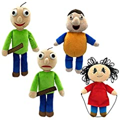 "Series 1; Four collectible plushes, stuffed with beans. 10"" (25.4cm) tall, made of high-quality, tear-resistant fabric. Super soft, cuddly, and adorably quirky! All 4 Series 1 plushes: Baldi, Bully, Playtime, & Angry Baldi. Officially Licensed by Bas..."