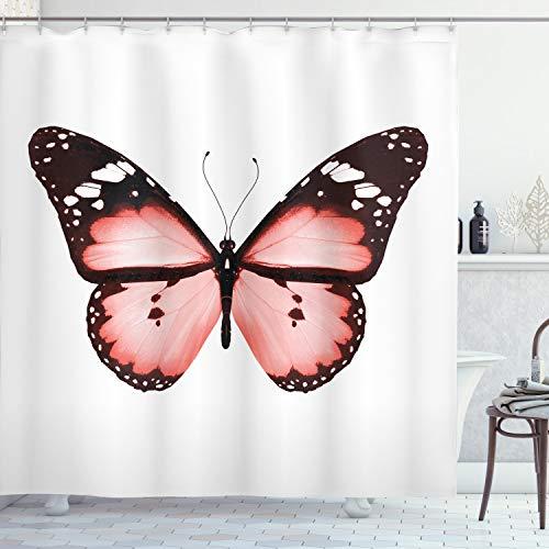 ABAKUHAUS Blasses Rosa Duschvorhang, Schmetterling Valentines, Bakterie Schimmel Resistent inkl. 12 Haken Waschbar Stielvoller Digitaldruck, 175 x 200 cm, Dunkelbraune weiße