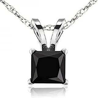 14K Gold Princess Cut Black Diamond Ladies Solitaire Pendant