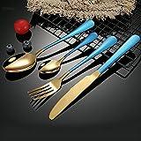 cubiertos Negro Set de cubiertos 4 Piezas Cena Cuchillo Tenedor Cuchara Conjunto de acero inoxidable cubiertos conjunto...