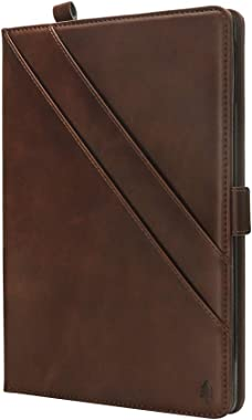 Jennyfly 2019 iPad 7th Gen 10.2 inch Cover, Luxury PU Leather Smart Cover Case with Card Slots & Pencil Holder & Magnetic Wake/Sleep for 2019 iPad 7th Gen 10.2 inch - Brown