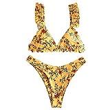 ZAFUL Set Bikini Imbottito da Donna, Costume da Bagno Bikini a Volant Floreale con Gamba Alta