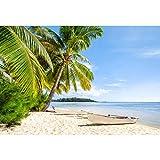 Leowefowa 3x2m Vinilo Mar Telon de Fondo Playa de Arena Tropical Cielo Soleado Nubes Barco Palmeras Fondos para Fotografia Party Infantil Photo Studio Props Photo Booth