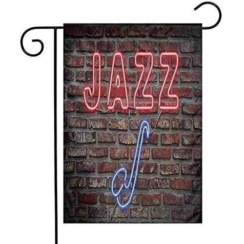 Jazz Muziek Decor Tuin Vlag Afbeelding van Heldere Neon Alle Jazz Teken met Saxofoon Op Baksteen Muur Print Ontwerp Decor Decoratieve Vlaggen voor Tuin Yard Lawn Rood Blauw