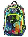 Wheel-Bee Rucksack, Design Multicolour mit integriertem LED Licht (grün) und Reflektorstreifen,...