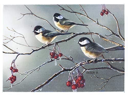 Oak Street Chickadees Birds Frozen Branch Winter LED Art 8'x6' Tabletop Canvas Light up Picture 6 Hour Timer
