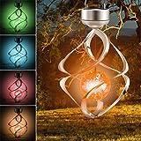 Haokaini Drehbare Solar-Hängelampen, wasserdichte Windspiele mit LED-Farbwechsel, Spiral-Spinner-Hängelampe für den Gartenterrassenbalkon Outdoor-Innendesign-Dekor