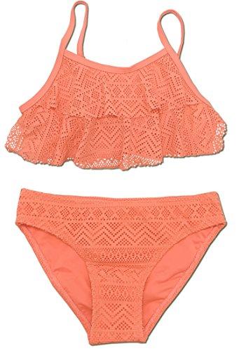 SHEKINI Mädchen Zweiteiler Bikini Badeanzug Teenager Bademode Spitze Schwimmanzug Tankini Set (Large, Orange)
