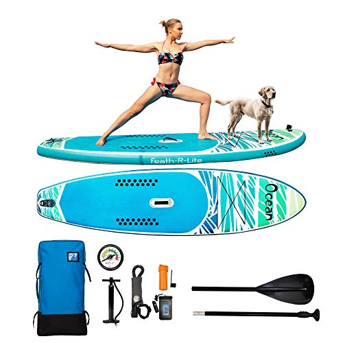 FAYEAN Inflatable Stand Up Paddle Board Round SUP ISUP Board 10.5'x33 x6 Thick Includes Pump, Paddle, Backpack, Coil Leash,Fin and Universal Waterproof Case