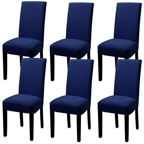 YISUN Stuhlhussen Stretch, Abnehmbare Waschbar Stuhlbezug Hussen Sitzfläche Elastisch Universal Stuhl Schutzhülle Set für schwingstuhl Stuhl Esszimmer Wohnkultur Hochzeit Partys Deko(6er Set, Blau)