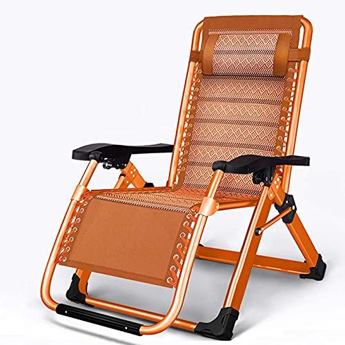 Sedia a sdraio pieghevole, traspirante, sedie da giardino reclinabili reclinabili, capacità di 500 libbre, chaise a gravità zero regolabile, resistente, arancione, nero, marrone