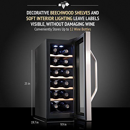 Ivation Premium Stainless Steel 12 Bottle Thermoelectric Wine...