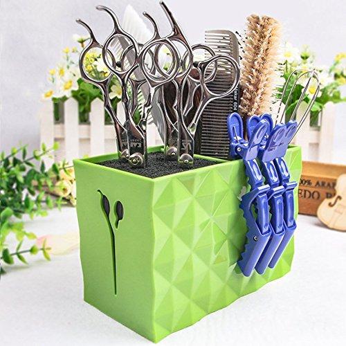 Professional Salon Scissors Holder Rack, Hairdresser Scissor Storage Case Keeper, Modern Hairdressing Combs Clips Desktop Desk Organizer Accessories for Hair Stylist Office Home (Green)