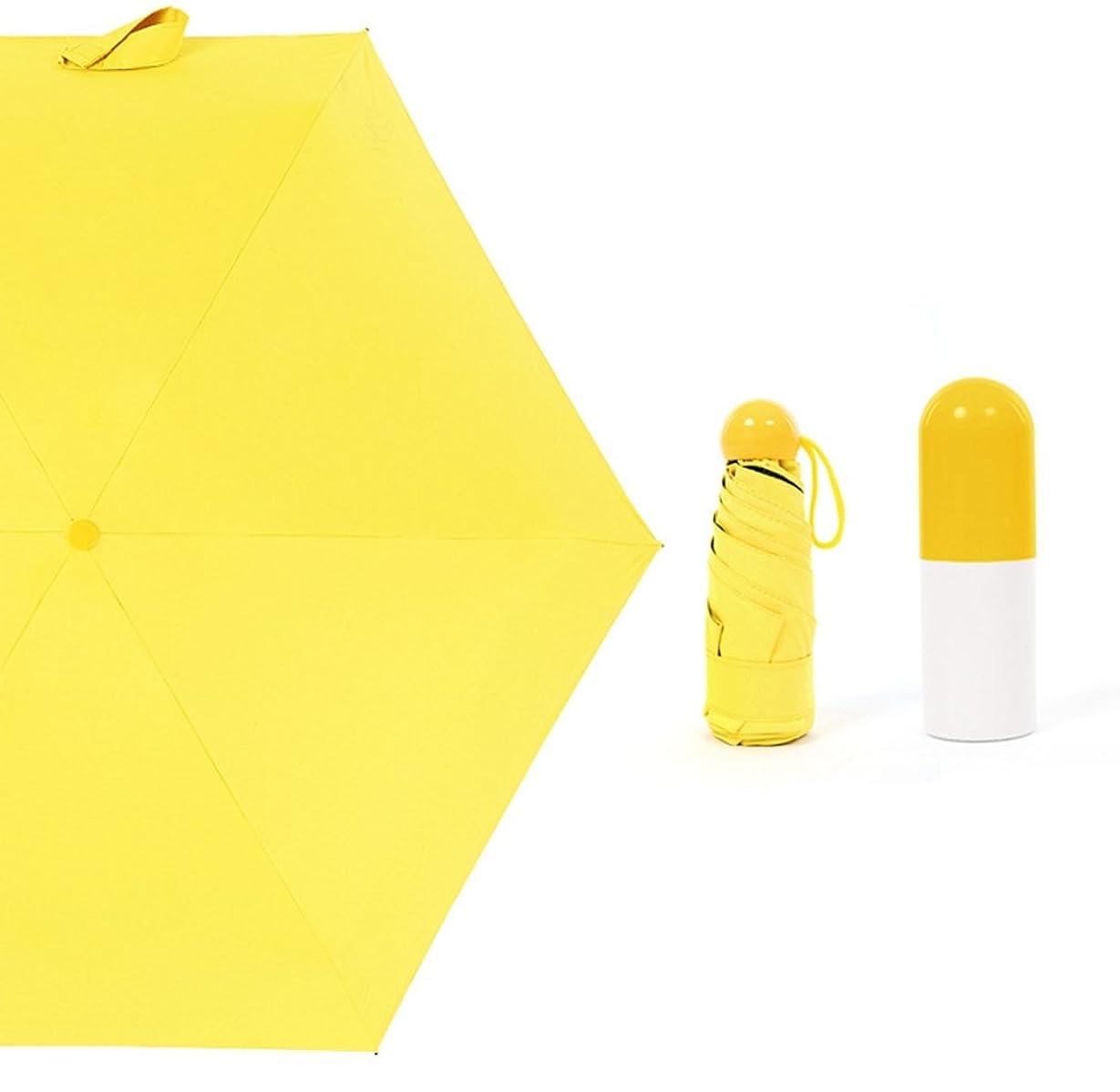 第三アーティスト中庭Yammi 折り畳み傘 ミニ日傘 日焼け止め スーパーライト UVカット 100 遮光 メンズ レディース 耐風 撥水 軽量 晴雨兼用 コンパクト 5色 (色 : イエロー)