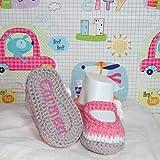 Zapatitos bebé hechas a mano en ganchillo con hilo de algodón y personalizadas...
