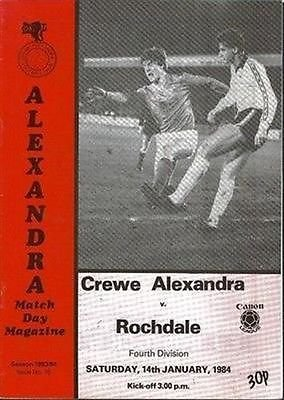 Crewe Alexandra (Home club) Rochdale 14/01/83 GRESTY Road football programme