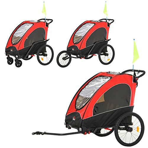 HOMCOM 3 in 1 Foldable Children Bike Trailer Kids Stroller Jogger Transport Buggy Carrier w/Suspension Rubber Tires Adjustable Handlebar for 2 Kids Red and Black