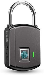 Smart Fingerprint USB Charge Lock Padlock, Smart Lock IP65 Waterproof Fingerprint Padlock, K2 Smart Keyless Fingerprint Door Lock Padlock for Suitcase Gym Locker Cabinet and More