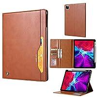 テーブルPCケース オートウェイクウェイク/スリープタブレットケースカバー付きiPad AIR 4 10.9インチ2020折りたたみ式スタンドカバー用タブレットケース (Color : Brown)