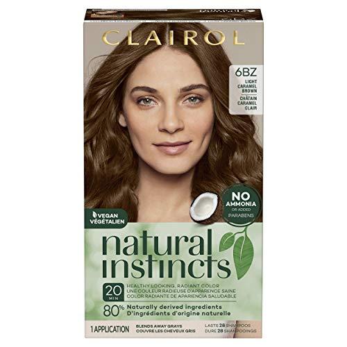 Clairol Natural Instincts Semi-Permanent Hair Color, 6BZ Light Caramel Brown, Autumn Bronze, 1 Count