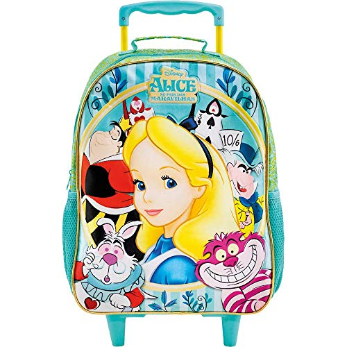Mala Escolar com Rodas 16, Alice no País das Maravilhas, 8600, Azul Claro