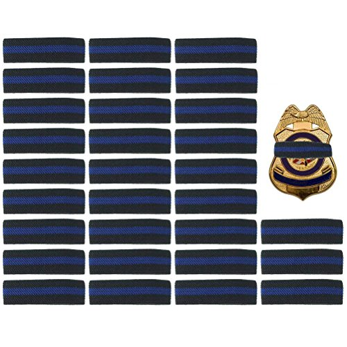 30 Pack Thin Blue Line Police Mourning Band Stripe Police Officer Badge Shield Funeral Honor Guard Straps, 1/2
