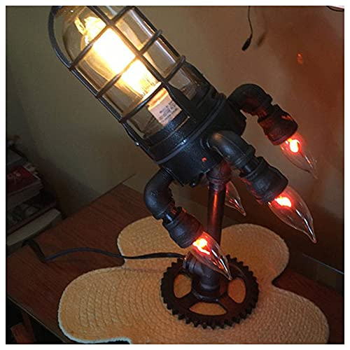 ZHMIAO Steampunk Rocket Lamp Lámparas de Estilo Retro Simulación Flame LED Bulbs Lights niños Padre Creativo Industrial Rocket Decoración para Inicio /