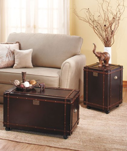 Hot Sale 3 Piece Living Room Set - Trunk Tables - Espresso Brown (1 Coffee Table and 2 End Tables)