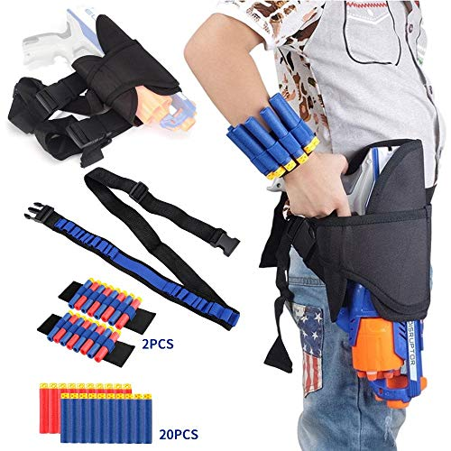 Holster Belt Kit for Nerf N-Strike Elite Series - Accessories Includes Holster Waist Bag, Bandolier Strap, 2 Pcs Wrist Ammo Holder, & 20 Refill Darts