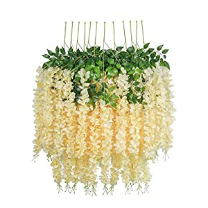 HEBE 24 Pack (86.6 FT) Artificial Wisteria Vine Ratta Fake Wisteria Hanging Garland Vine Silk Long Hanging Bush Flowers String Home Party Wedding Decor