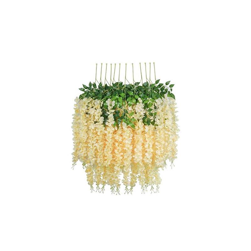 silk flower arrangements hebe 24 pack (86.6 ft) artificial wisteria vine ratta fake wisteria hanging garland vine silk long hanging bush flowers string home party wedding decor