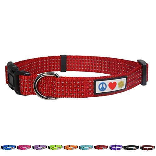 Pawtitas Collares para Perros Reflectante Adaptable | Collar Perro y Cachorro Ajustable y Resistente | Collar para Perros Ideal para Entrenamiento | Collar para Perro Color Rojo - Extra Pequeñ