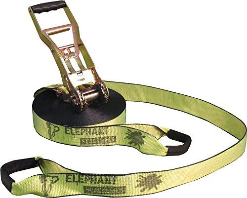 Elephant Slacklines Addict Flashline, Neon gelb, 25 m, 22,5 m Slacklineband + 2,5 m Ratschenband, *Made in Germany*, Breite 50mm