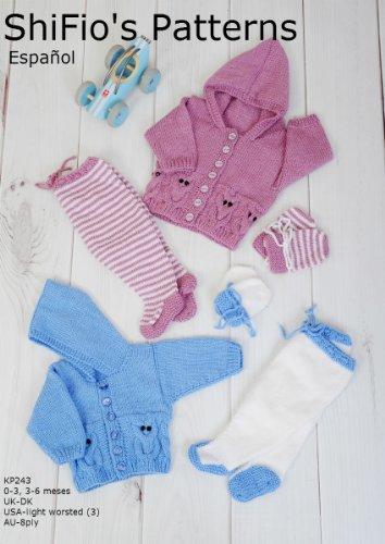 patrón para dos agujas – KP243- chaqueta matinée, leggins y sombrero para bebé