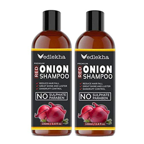 Vedlekha Premium Red Onion Herbal Shampoo For Hair Growth Pack Of 2 (Each 100 ml)