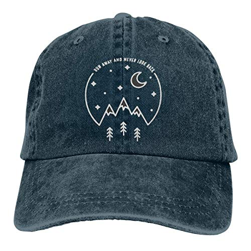 Wdskbg Run Away and Never Look Back Unisex Adjustable Vintage Denim Baseball Kappen Multicolor85