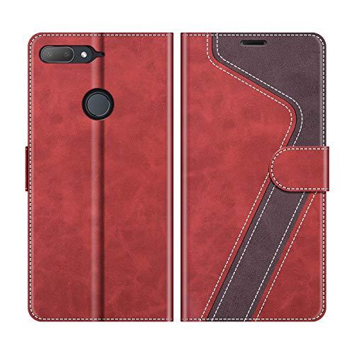 MOBESV Handyhülle für HTC Desire 12 Plus Hülle Leder, HTC Desire 12 Plus Klapphülle Handytasche Hülle für HTC Desire 12 Plus/HTC Desire 12+ Handy Hüllen, Modisch Rot